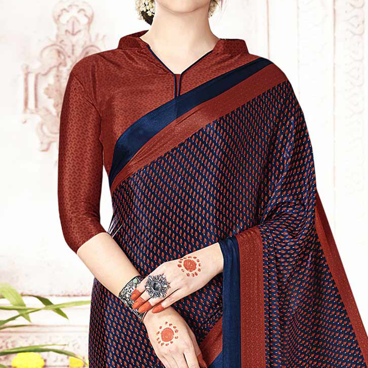 Attractive Navy Blue Colored Casual Printed Crepe Saree