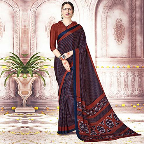 Attractive Navy Blue Colored Casual Printed Silk Crepe Saree