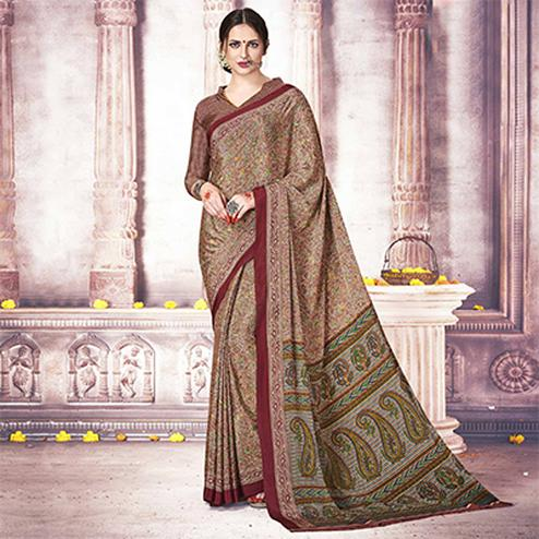 Eye-Catching Beige Colored Casual Printed Silk Crape Saree