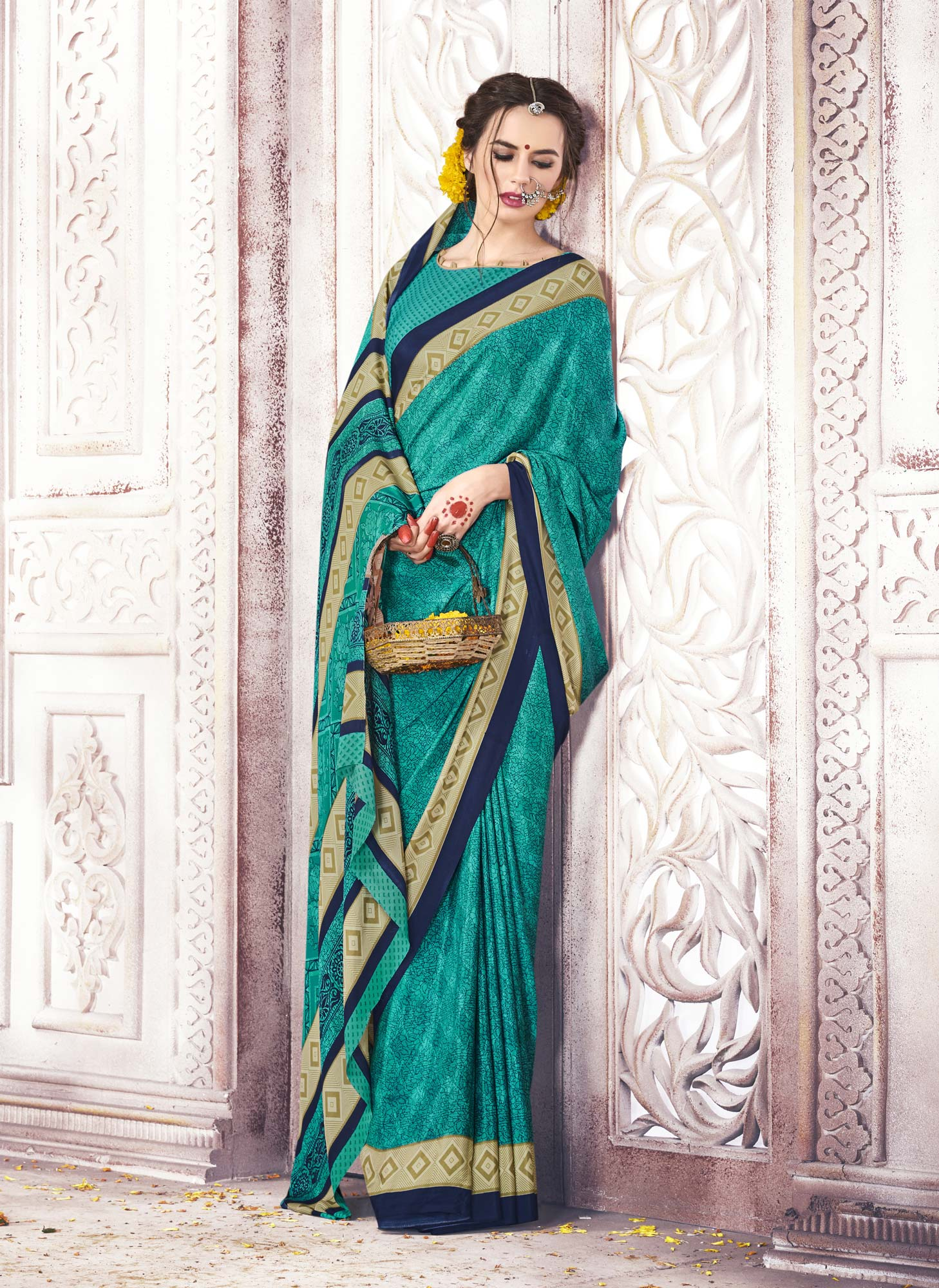 Demanding Turquoise Green Colored Casual Printed Crepe Saree