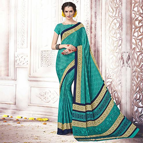 Demanding Turquoise Green Colored Casual Printed Silk Crepe Saree
