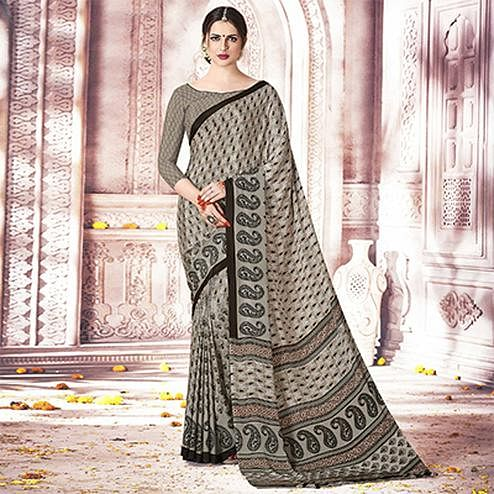 Trendy Grey Colored Casual Printed Crepe Saree
