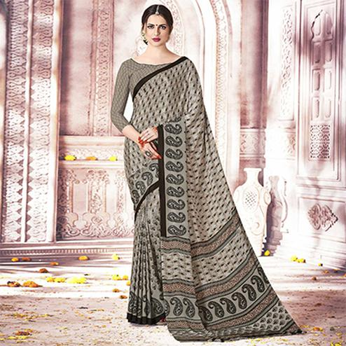 Trendy Grey Colored Casual Printed Silk Crepe Saree