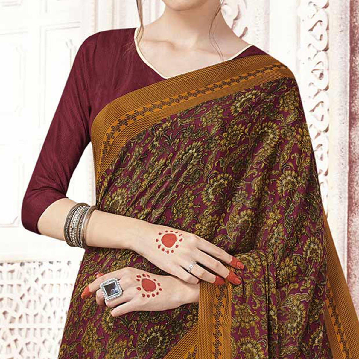 Different Yellow Colored Casual Printed Crepe Saree
