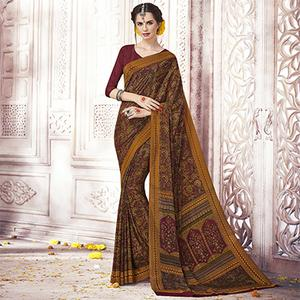 Different Yellow Colored Casual Printed Silk Crepe Saree