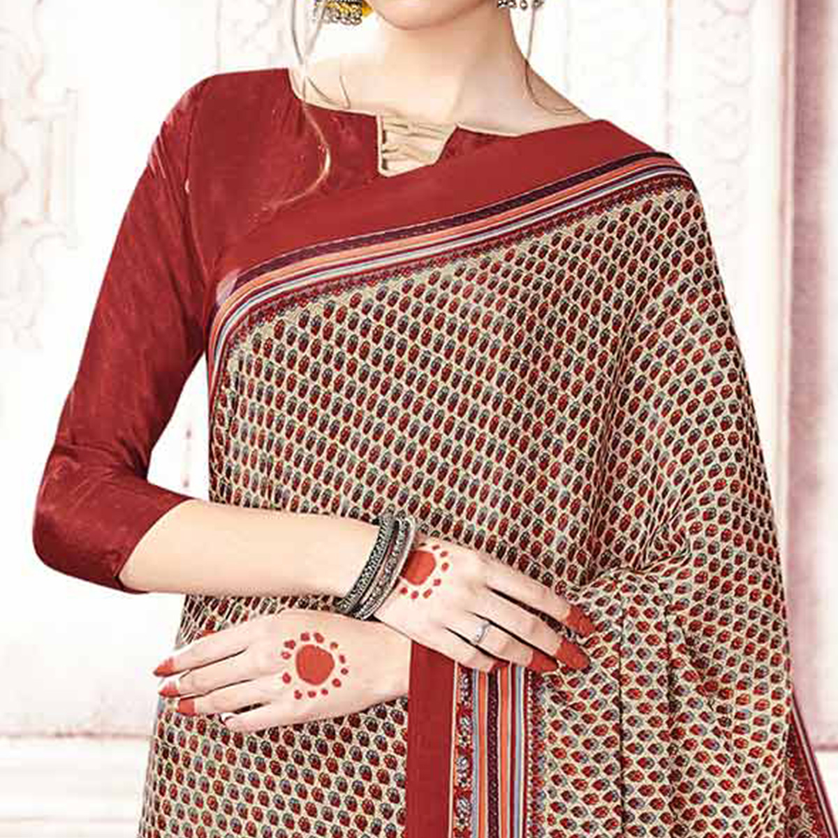 Dazzling Beige Colored Casual Printed Crepe Saree