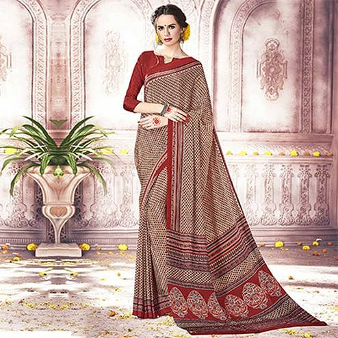 Dazzling Beige Colored Casual Printed Silk Crepe Saree