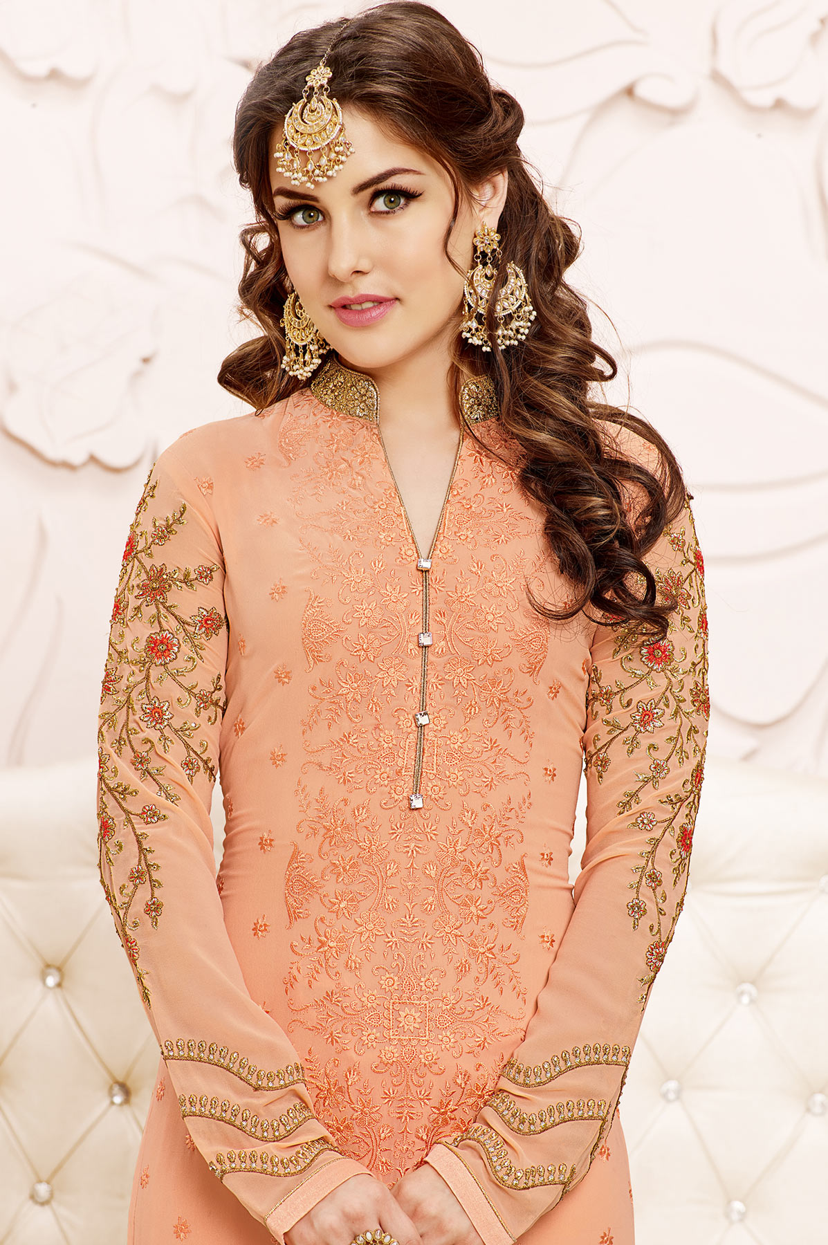 Peach Partwear Georgette Suit
