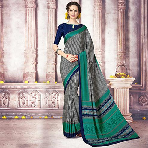 Perfect Grey Colored Casual Printed Silk Crepe Saree