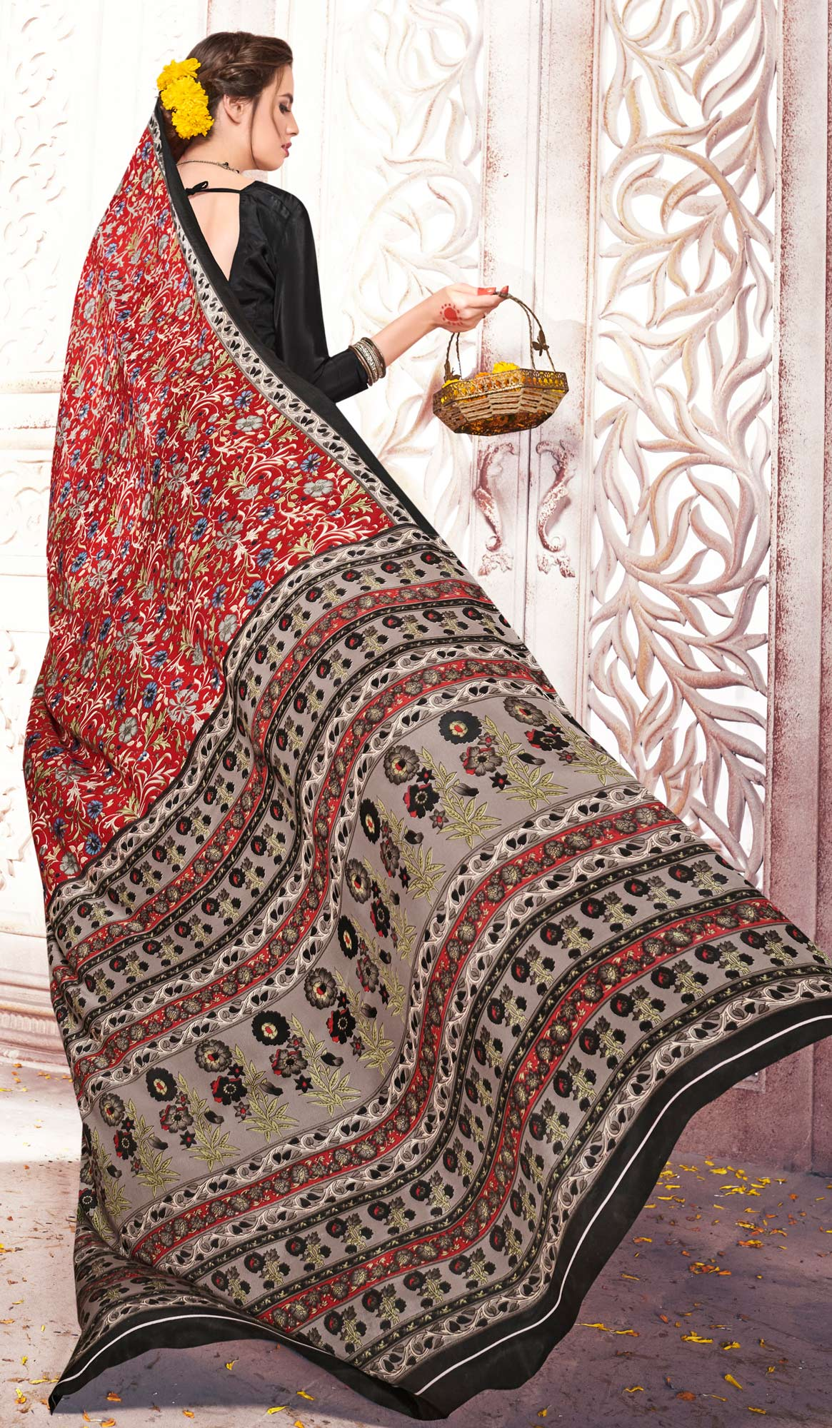 Traditional Red Colored Casual Printed Crepe Saree