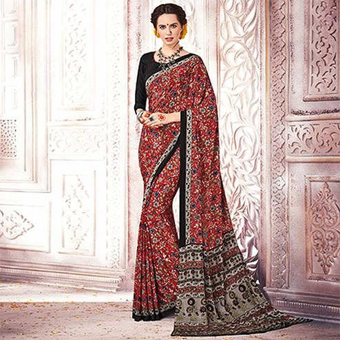 Traditional Red Colored Casual Printed Silk Crepe Saree