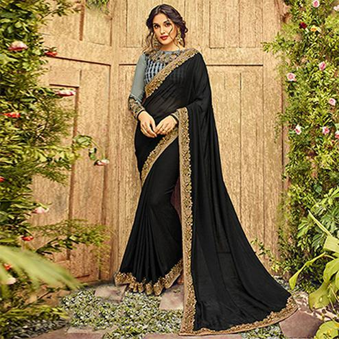 Marvellous Black Colored Designer Partywear Georgette Silk Saree