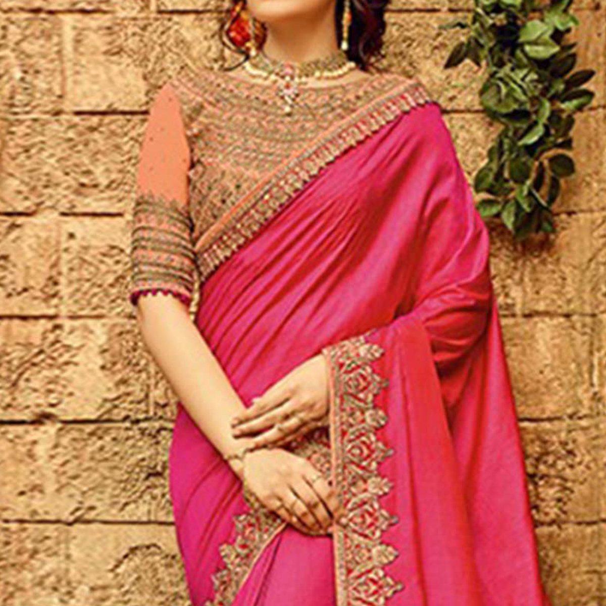 Adorning Deep Pink Colored Designer Partywear Vichitra Silk Saree