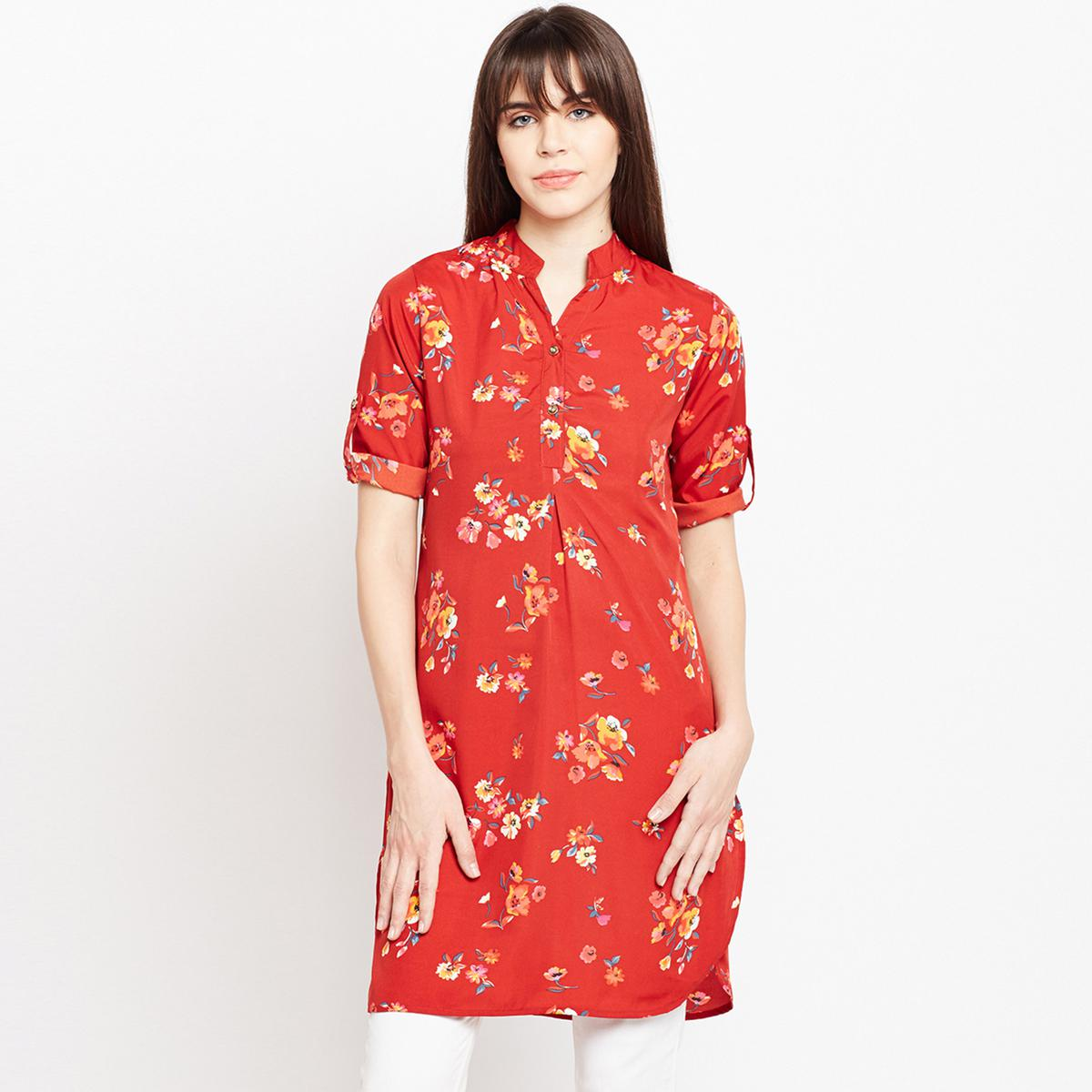 Ruhaan's Womens Red Floral Printed Crepe Tunic