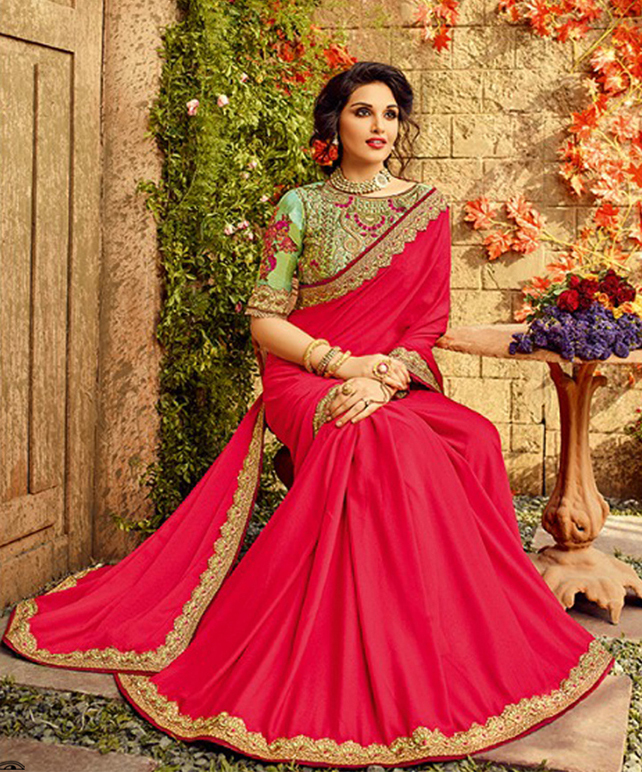 Deserving Red Colored Designer Partywear Paper Silk Saree