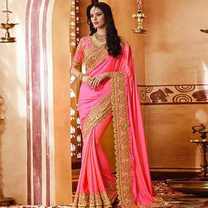 Extraordinary Pink Colored Designer Partywear Paper Silk Saree