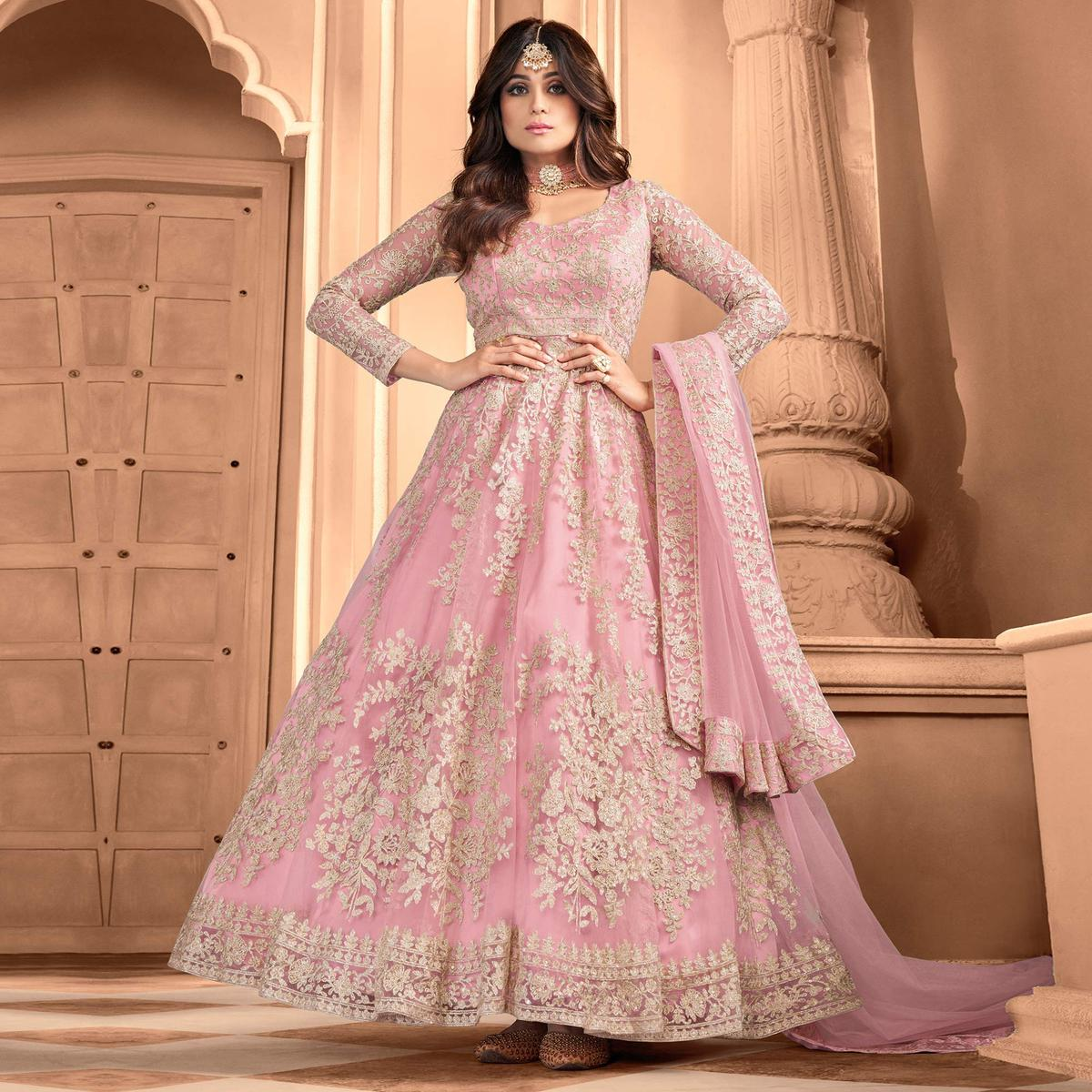 Pink Partywear Floral Embroidered Net Anarkali Suit