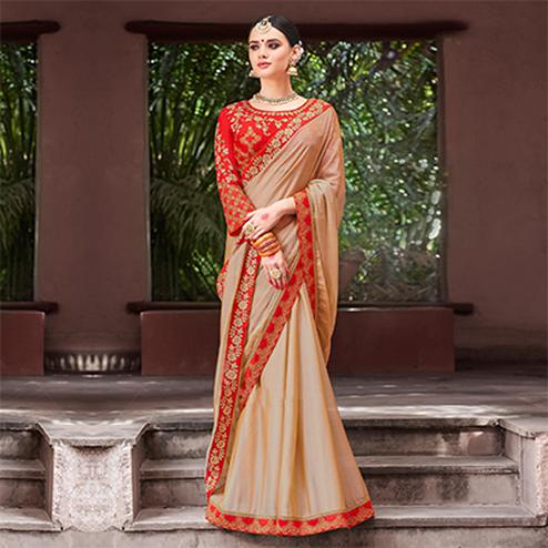Snazzy Beige Colored Designer Partywear Chinon Silk Georgette Saree