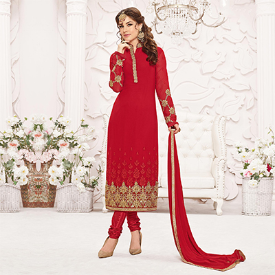 Red Embroidered Straight Cut Suit