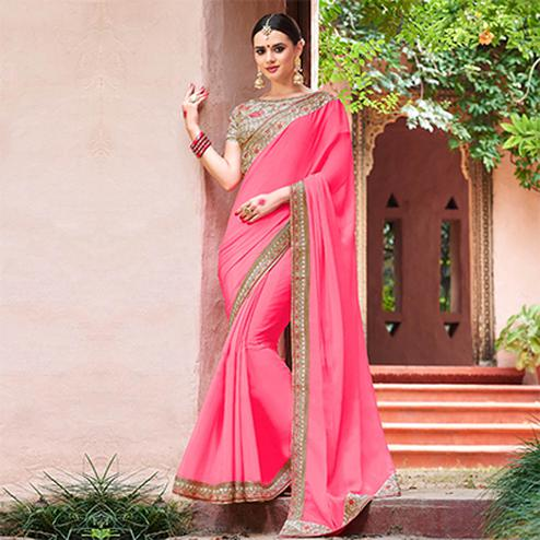 Stunning Pink Colored Designer Partywear Chinon Silk Georgette Saree