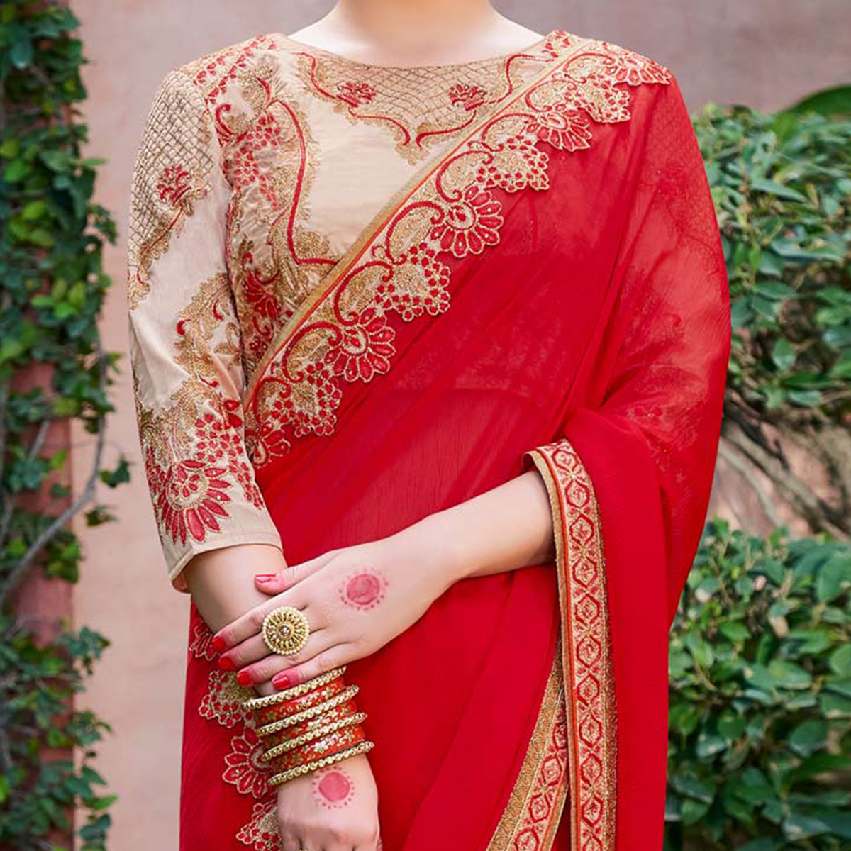 Ravishing Red-Beige Colored Designer Partywear Moss Chiffon Silk Saree