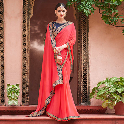 Preferable Pink-Blue Colored Designer Partywear Moss Chiffon Silk Saree