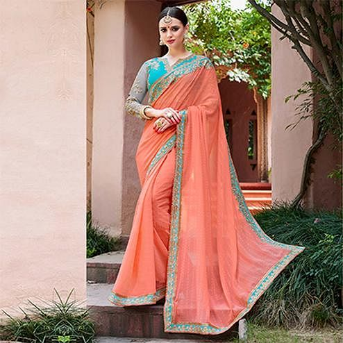 Graceful Peach Colored Designer Partywear Marble Georgette Silk Saree