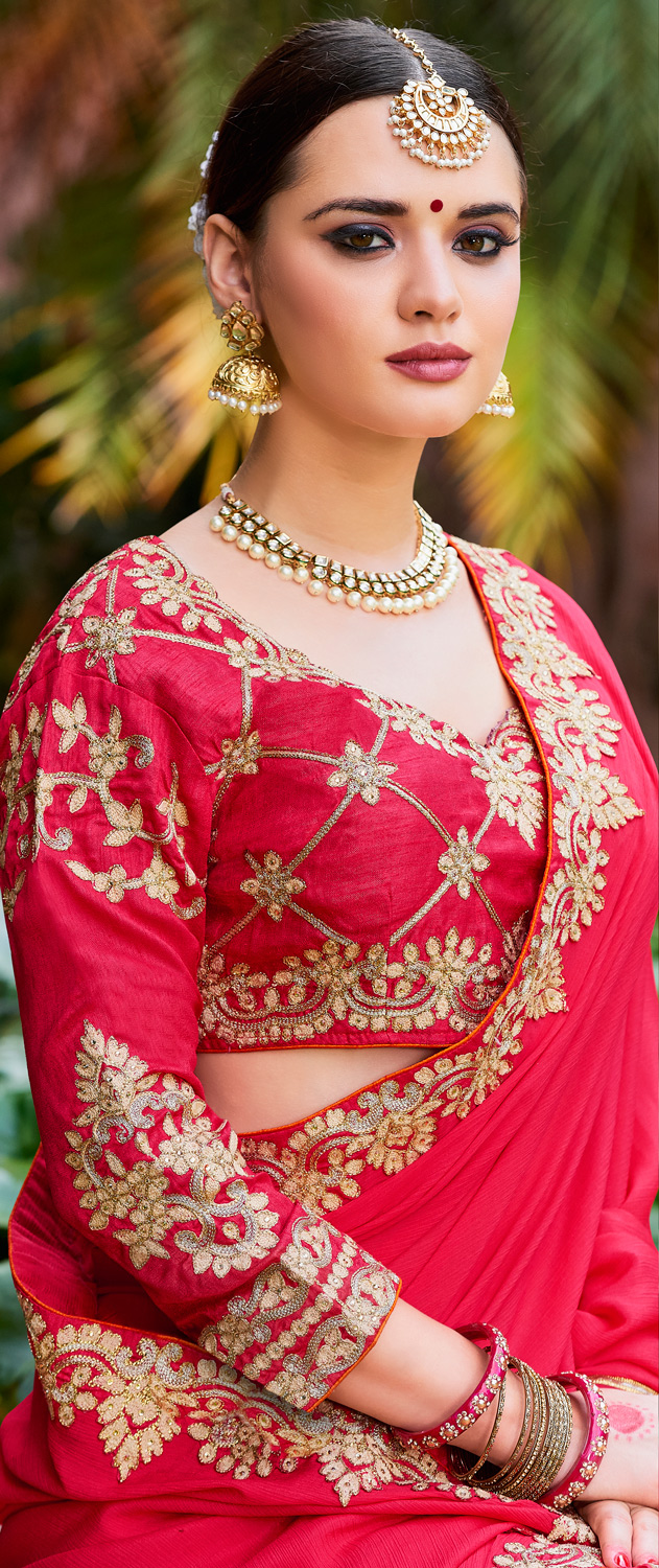 Glowing Red Colored Designer Partywear Chinon Silk Georgette Saree