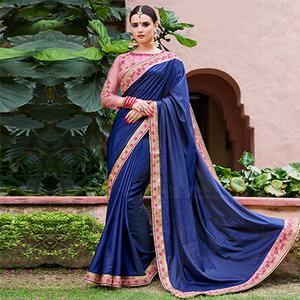 Amazing Blue Colored Designer Partywear Paper Silk Georgette Saree