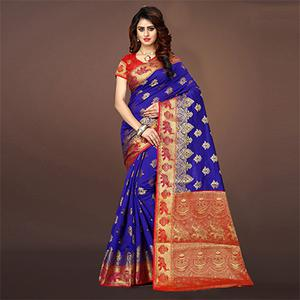 Amazing Blue Colored Festive Wear Woven Art Silk Saree