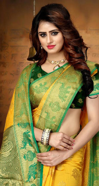 Lovely Yellow Colored Festive Wear Woven Art Silk Saree