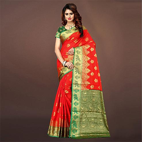 Delightful Red Colored Festive Wear Woven Art Silk Saree