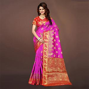 Beautiful Deep Pink Colored Festive Wear Woven Art Silk Saree