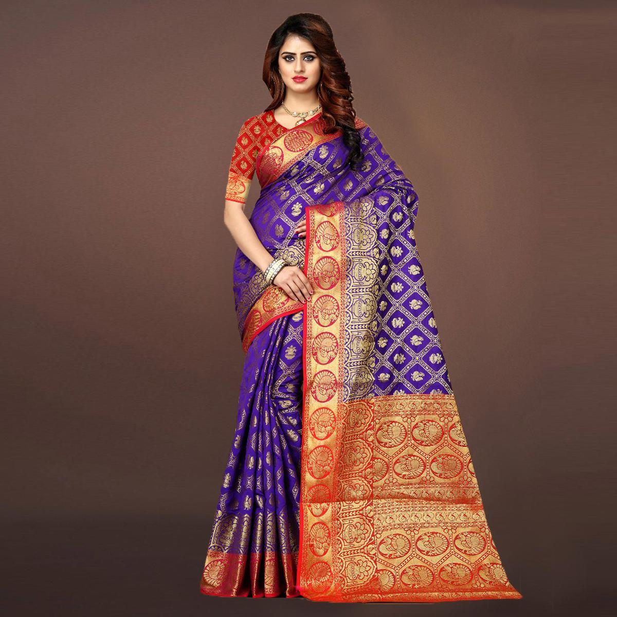 Adorning Purple Colored Festive Wear Woven Art Silk Saree