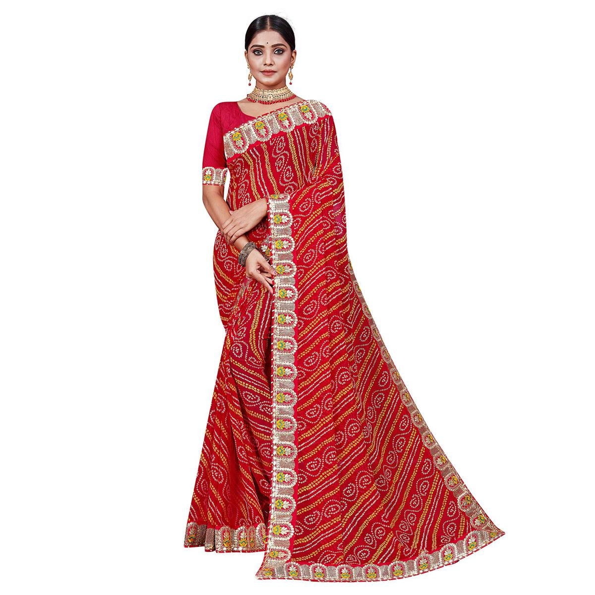 Red Festive Wear Bandhani Printed Georgette Saree With Gotta Patti Lace