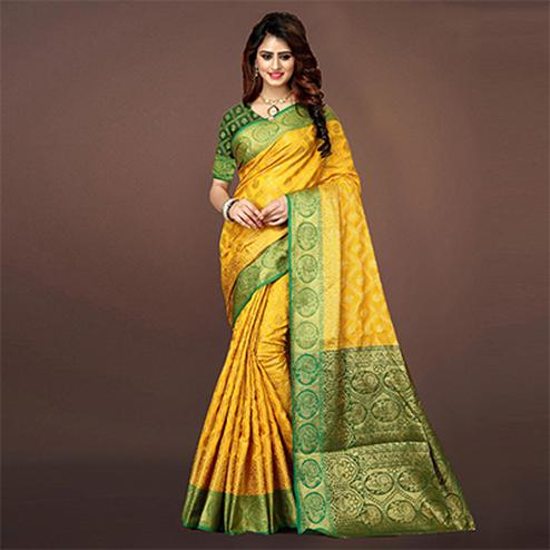Cool Yellow Colored Festive Wear Woven Art Silk Saree