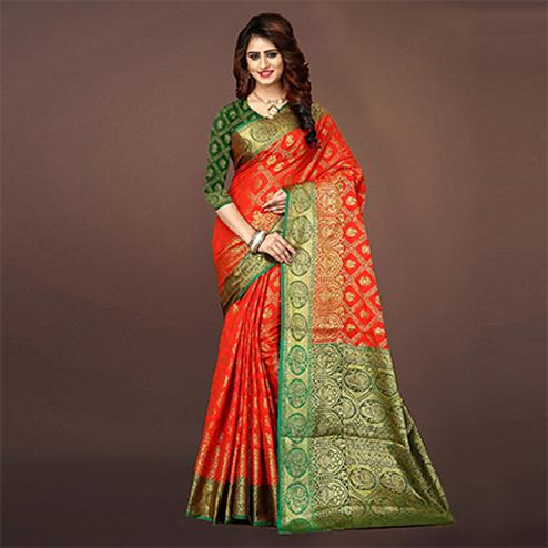 Stunning Red Colored Festive Wear Woven Art Silk Saree