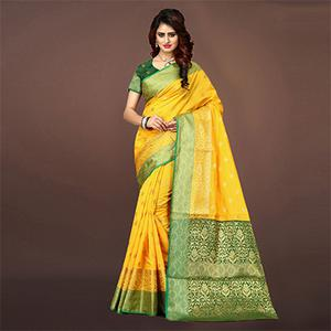 Blooming Yellow Colored Festive Wear Woven Art Silk Saree