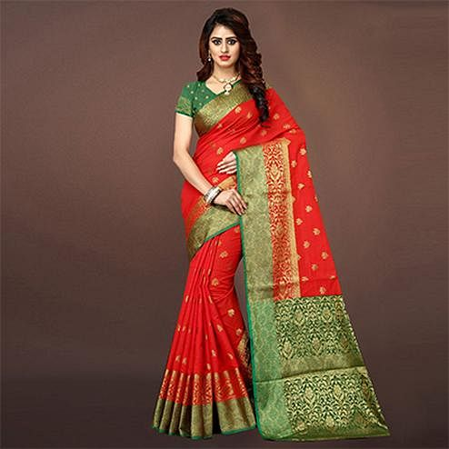 Dazzling Red Colored Festive Wear Woven Art Silk Saree