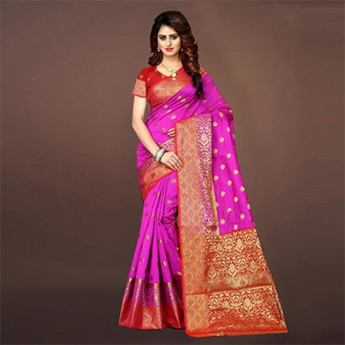 Eye Catching Deep Pink Colored Festive Wear Woven Art Silk Saree