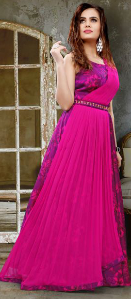 Hot Pink Colored Partywear Printed Silk Gown