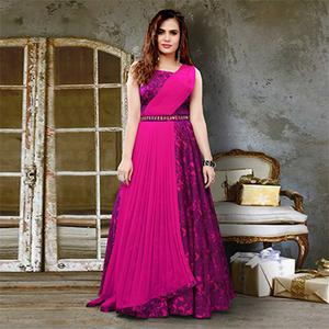 Hot Pink Colored Partywear Printed Pure Silk Gown