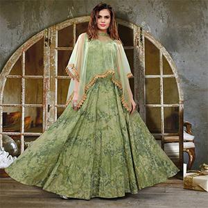Stylist Pista Green Colored Partywear Printed Jacquard Silk Gown