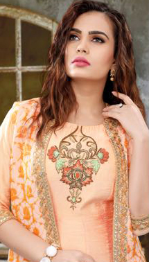 Amazing Peach Colored Partywear Embroidered Raw Silk-Banarasi Jacquard Gown