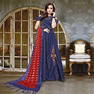 Stunning Navy Blue Colored Partywear Embroidered Velvet Silk-Banarasi Jacquard Gown