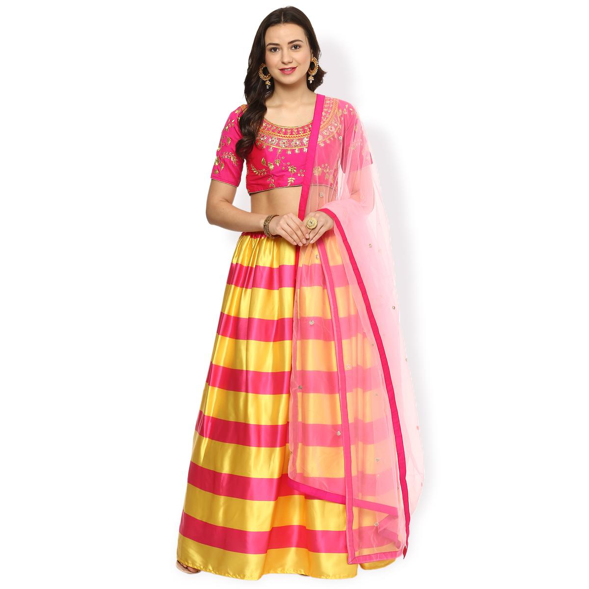 c042f9de2 Buy Alluring Yellow-Pink Designer Partywear Japan Satin Lehenga Choli for  women's online India, Best Prices, Reviews - Peachmode