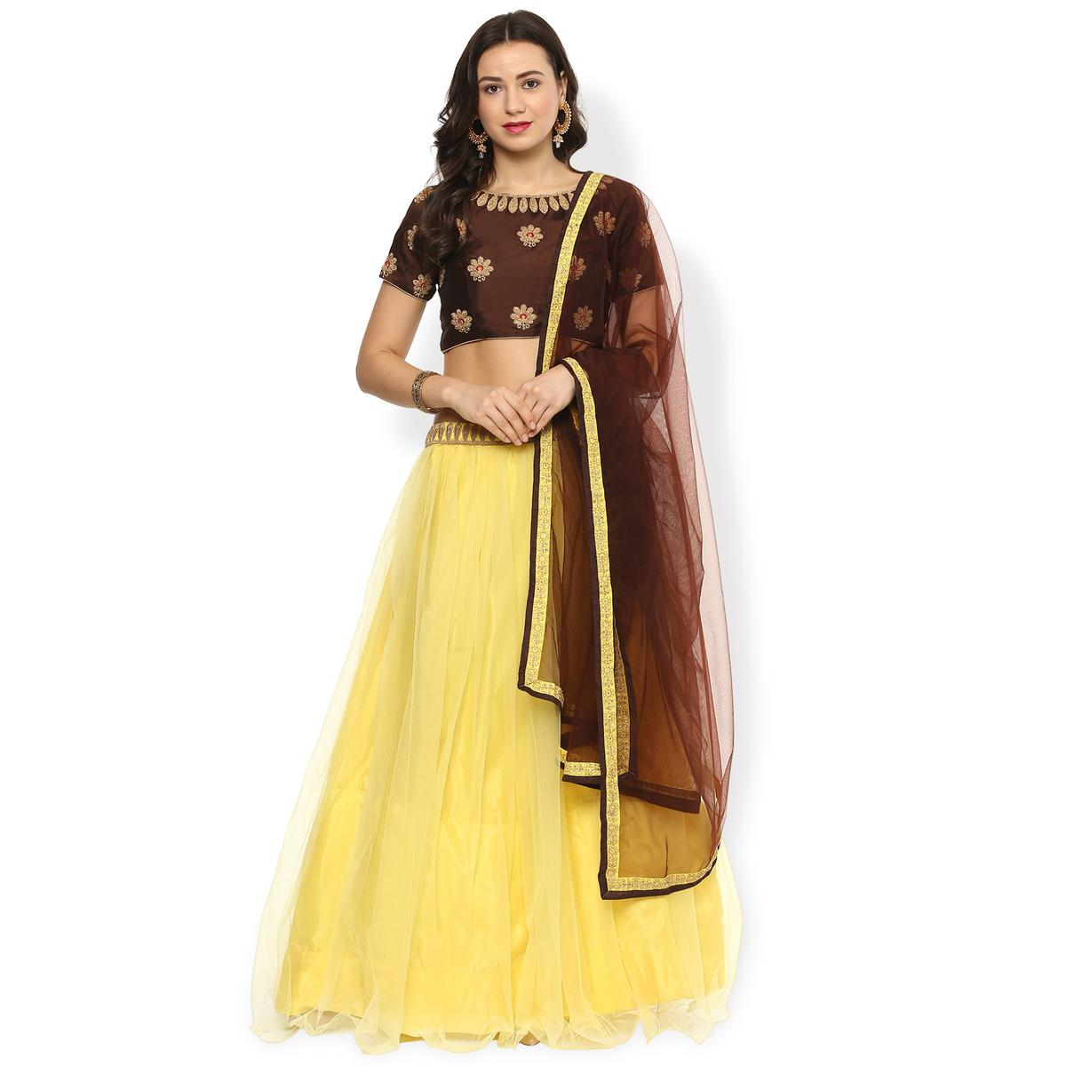 Lovely Yellow-Brown Designer Partywear Net Lehenga Choli