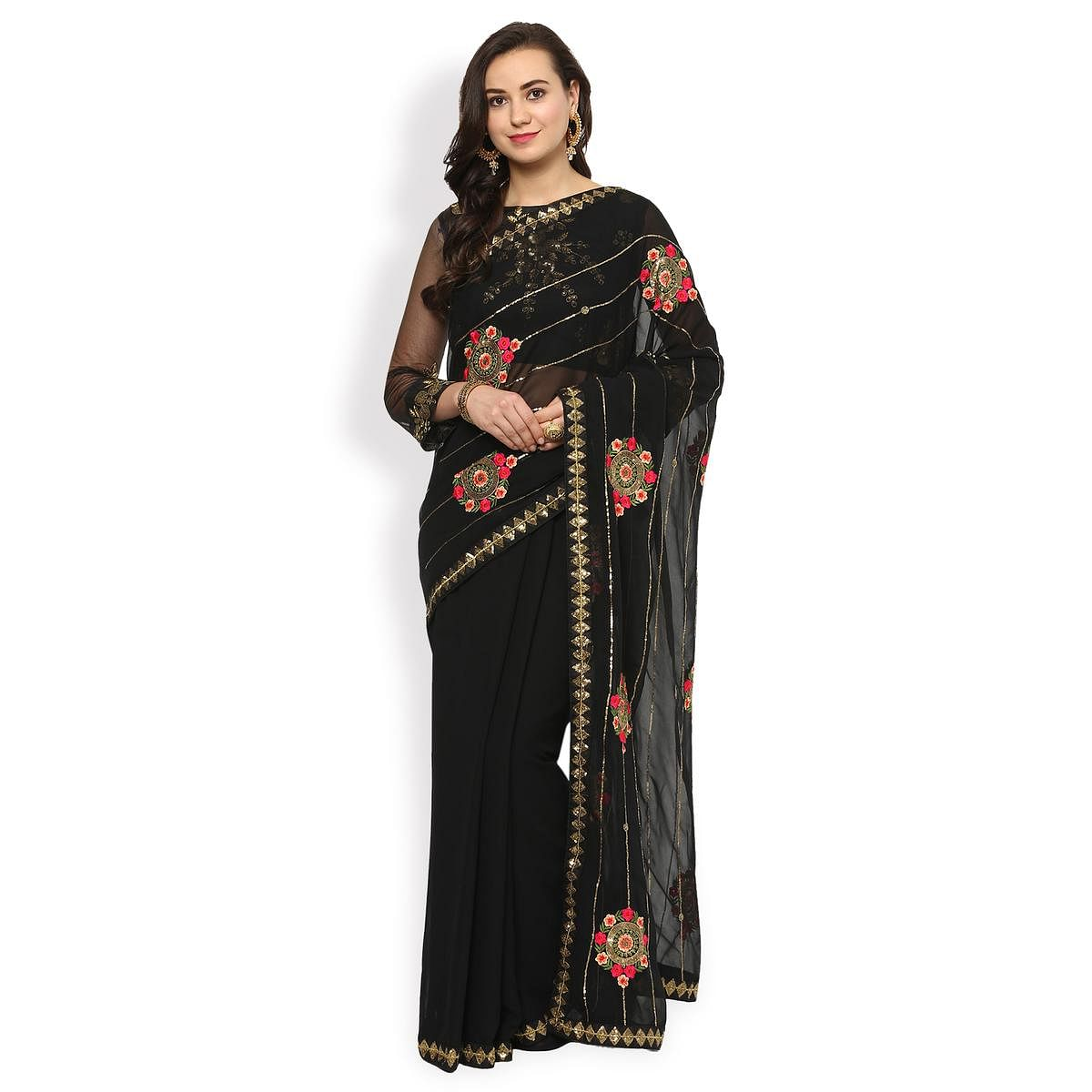 Mesmerising Black Partywear Floral Embroidered Georgette Saree