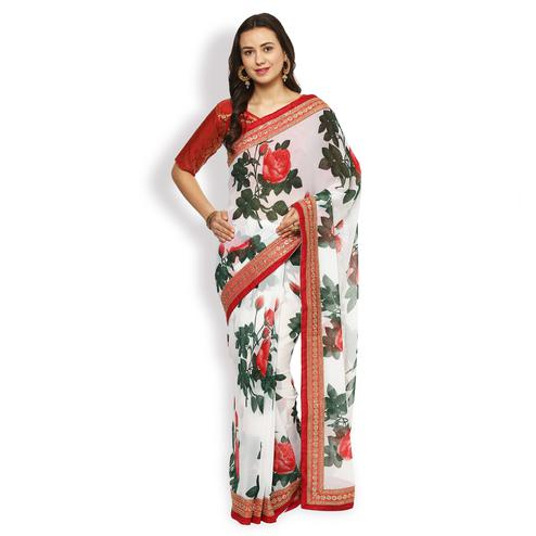 Pretty White Partywear Floral Printed Georgette Saree
