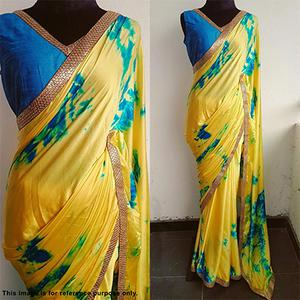 Snazzy yellow Printed Partywear Japan Crape Saree